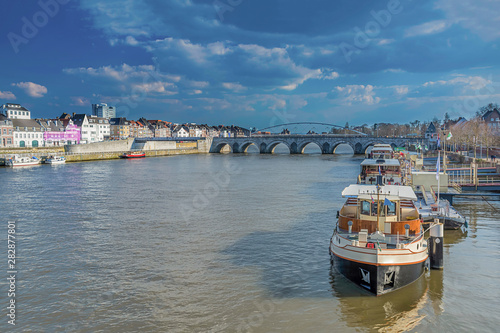 Maas river in Maastricht, Netherlands Tablou Canvas