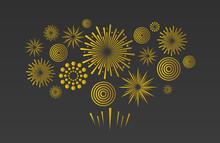 Holiday Fireworks. Festive Vector Background.