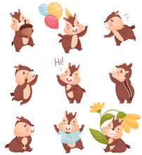 Cartoon Chipmunk In Different Situations. Vector Illustration On White Background.