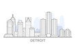 Detroit cityscape, Michigan - panorama of Detroit, outline of skyline of downtown