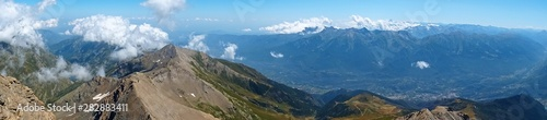 Slika na platnu Nature, meadows and peaks that characterize the landscape of the Italian Alps in Val di Susa, near the village of Susa, Piedmont - August 2019