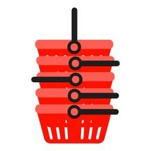 Stack Plastic Shop Basket Icon. Flat Illustration Of Stack Plastic Shop Basket Vector Icon For Web Design