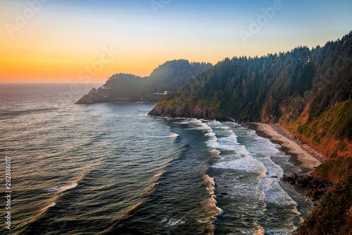 Sunset landscape along the Oregon Coast, USA. Canvas Print