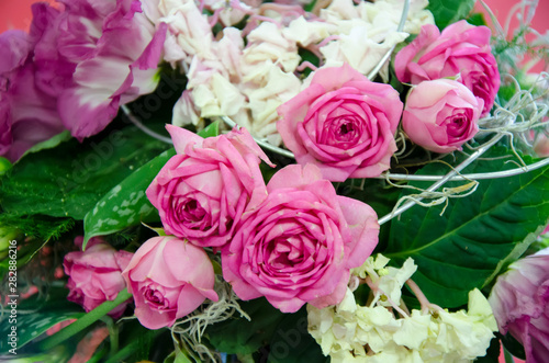 Wall Murals Floral bouquet of pink roses
