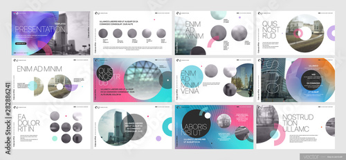 Photo  Covers templates set with graphic geometric elements