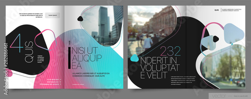 Photo sur Toile Les Textures Covers templates set with graphic geometric elements. Applicable for flyer, cover annual report, placards, brochures, posters, banners. Vector illustrations.