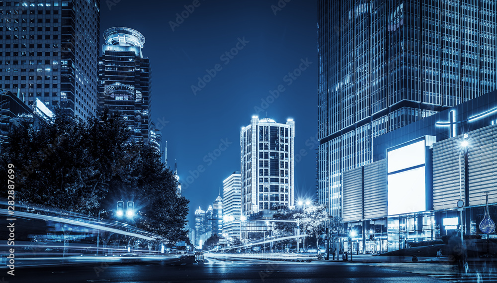 Fototapety, obrazy: the light trails on the modern building background