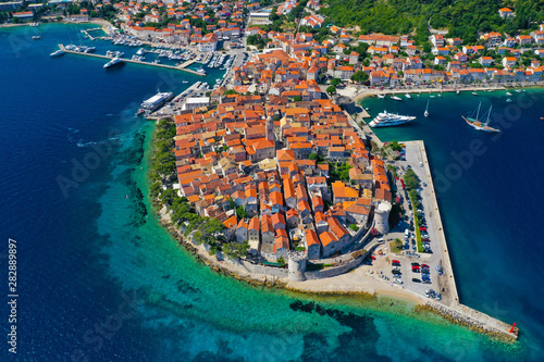Fototapeta Aerial shot of Korcula City during Summer time