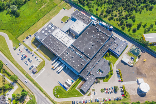 Foto  Aerial drone view on warehouse and logistic center