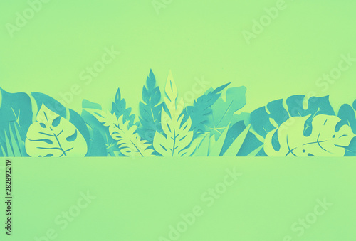Poster Pays d Europe Green paper floral background with tropical leaves and copy-space