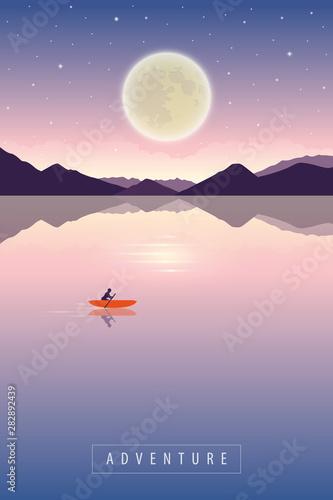 Slika na platnu lonely canoeing adventure with orange boat at night with full moon romantic land