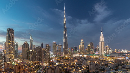 Recess Fitting Dubai Dubai Downtown skyline day to night timelapse with Burj Khalifa and other towers paniramic view from the top in Dubai