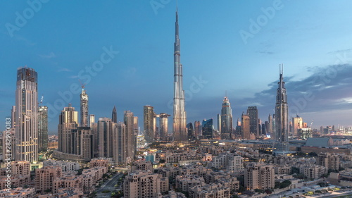 Recess Fitting Dubai Dubai Downtown skyline night to day timelapse with Burj Khalifa and other towers paniramic view from the top in Dubai