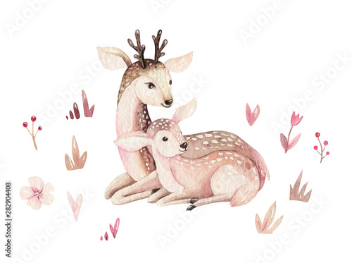 Photo Watercolor little deer baby and mother watercolour bembi cartoon baby nursery