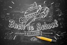 Back To School Banner, Doodle On Chalkboard Background, School Bus, Vector Illustration.