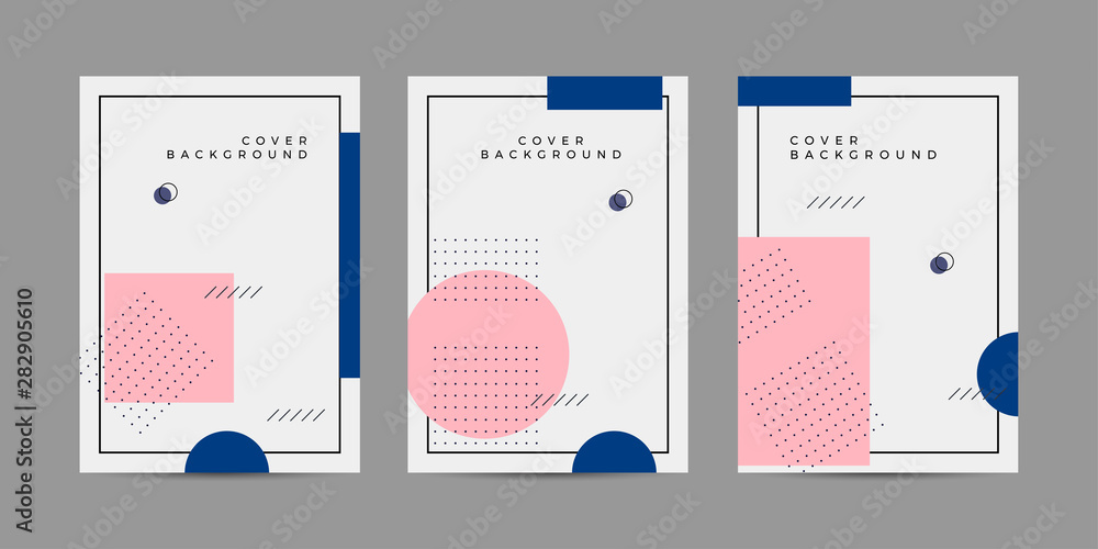 Fototapeta Placard templates set with Geometric shapes, Memphis geometric style flat and line design elements. Memphis art for covers, banners, flyers and posters. Eps10 vector illustrations