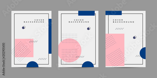 Tela  Placard templates set with Geometric shapes, Memphis geometric style flat and line design elements