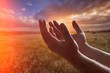 Leinwandbild Motiv Hands of human praying on cross bokeh background
