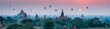 canvas print picture - Bagan panorama with temples and hot air-ballons during sunrise