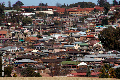 View over Alexandria township in Johannesburg, South Africa Wallpaper Mural