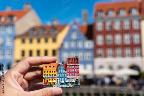 Photo  magnet souvenir at the Nyhavn in Copenhagen Denmark