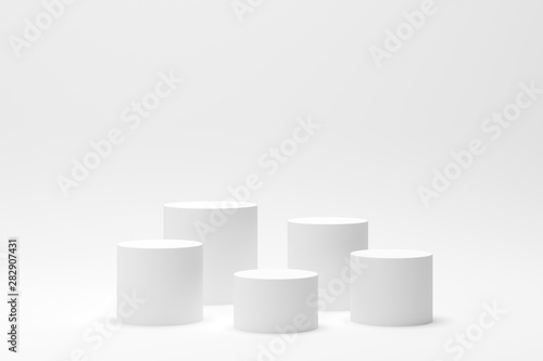 Cuadros en Lienzo  3d render abstract geometry shape podium scene with white background for display