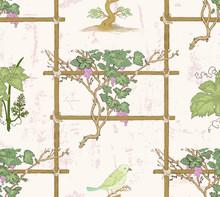 Vine And Bird Seamless Pattern