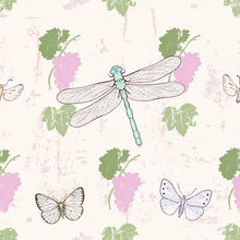 Grungy Grape Seamless Pattern With Dragonflies