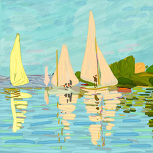 Sailboats In Claude Monet Styl...