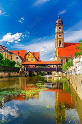 Amberg in der Oberpfalz mit Altstadt und Vils, Bayern Wallpaper Mural