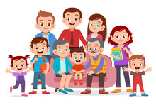 Big Family Together Vector Illustration