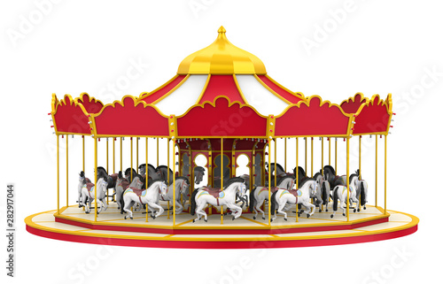 Fotografie, Obraz  Carousel Horse Isolated