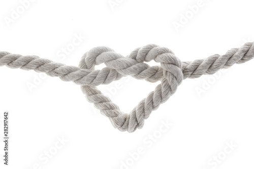 heart shape knot of rope isolated on white background Poster Mural XXL