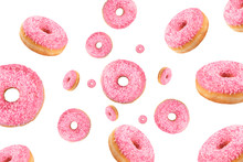 Falling Or Flying Pink Glazed Doughnuts With Sprinkles In Motion Isolated On White Background. American Food. Bakery And Pastry Products. Creative Layout Or Pattern. Fun Food Concept.