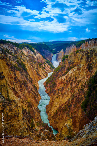 Photo Veiw of Lower Yellowstone Falls and the Grand Canyon of the Yellowstone at Yellowstone National Park, Wyoming, USA