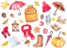 Autumn Set With Colorful Umbrellas, Sweater, Knitwear Clothing, Coffee Cup, Letters, Lantern, Rubber Boots, Apples, Mushroom, Pumpkin And Leaves. Watercolor Isolated On White Background.