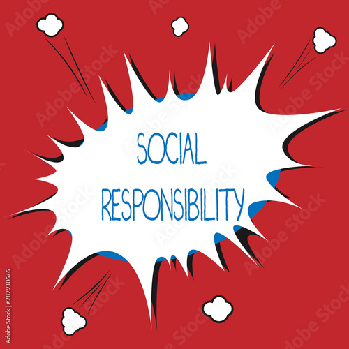 Stampa su Tela  Writing note showing Social Responsibility