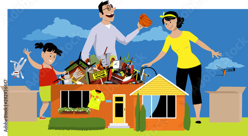 Fotomural  Family declutter their hoarded house, throwing away things, EPS 8 vector illustr