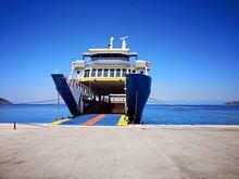 Ferryboat In The Port.  Ferryboat In The Aegean Sea - Mediterranean Sea - Thassos, Greece.
