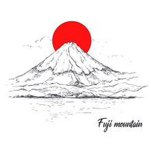 Illustration Mount Fuji And Red Sun .Sketch. Japan Drawing.Hand Drawn And Ink Painting Of Asia.