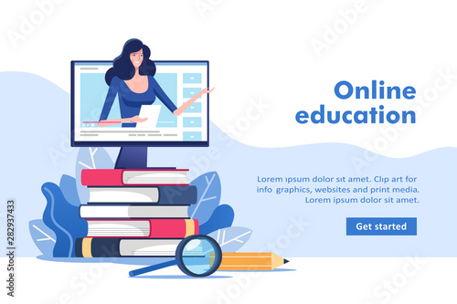 Leinwand Poster Online education or business training concept, study guides, exam preparation, home schooling