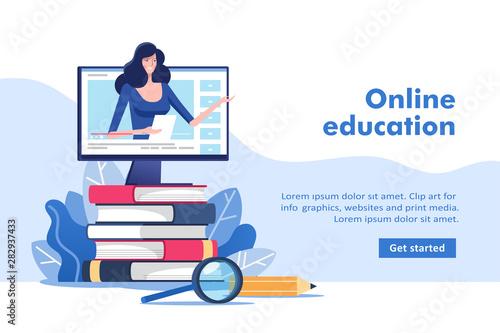 Fotografia Online education or business training concept, study guides, exam preparation, home schooling