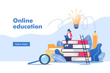 Person Gains Knowledge For Success And Better Ideas. Online Education Or Business Training. Vector Illustration For Mobile And Web Graphics.