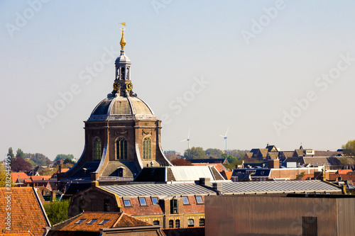 Платно  The view of Marekerk and roofs of the city from the Molen De Valk museum (Falcon windmill), traditional dutch flour windmill