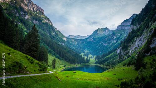 Fototapeta Beautiful mountain lake in the Swiss Alps - very romantic obraz