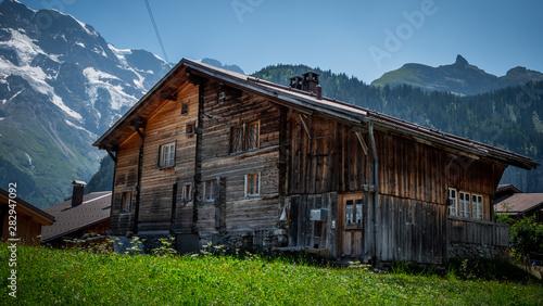 Obraz Typical wooden barns in Switerland - fototapety do salonu