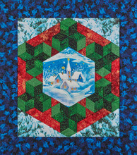 Mini Medallion Quilt The Snowed Village Surrounded By A Stylized Christmas Wreath