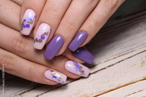 Obraz na płótnie stylish design of manicure on beautiful nails