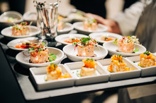 Salmon Tatrare In Small Plates, Catering Event, Banquet Food