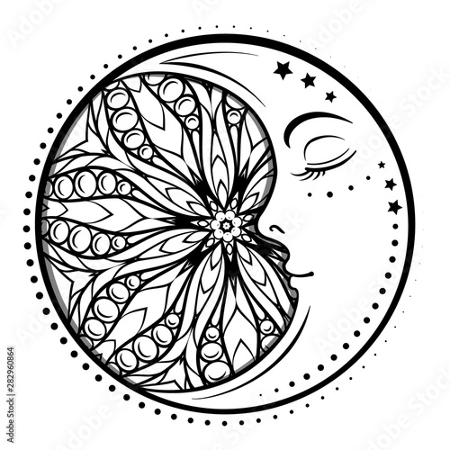 Ethnic cresent moon motif. Antistress coloring page Canvas Print